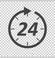 Time icon flat 24 hours on isolated background