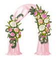 wedding arch decorated with pink curtain and vector image vector image