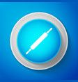 white rolling pin icon isolated on blue background vector image