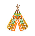 wigwam hut with decorative pattern textile native vector image vector image