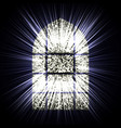 window and the sun rays on black background vector image vector image