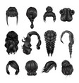 women wigs hairstyle back icons set