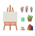 wooden easel with white canvas paints and brushes vector image
