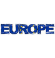 word europe with eu flag under it distressed vector image vector image