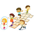 Children and hopscotch vector image