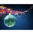 snow ball with christmas tree and presents vector image