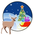 New year and Christmas card with a deer and tree vector image