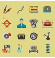Auto mechanic car repair service flat icon set vector image