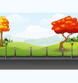 autumn season with the road landscape background vector image