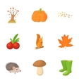 Autumn weather icons set cartoon style vector image vector image