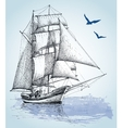 Boat drawing Sailboat sketch vector image vector image