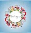 burlington iowa city skyline with color buildings vector image vector image