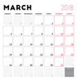calendar planner for march 2018 week starts on vector image vector image