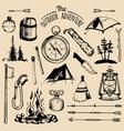 camping sketched elements set vintage vector image vector image