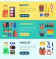 cartoon beauty cosmetics store banner horizontal vector image vector image