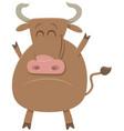 cartoon bull farm animal character vector image vector image