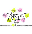 cartoon woman multitasking with sticky notes vector image vector image