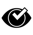 check eye list icon simple style vector image