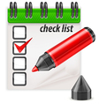 check list pen notepad vector image vector image