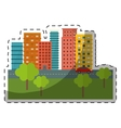 city scene and buildings with trees line sticker vector image vector image