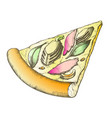 color delicious freshness slice pizza hand drawn vector image vector image