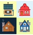 colorful flat residential houses exterior set of vector image