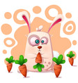 cute funny rabbit with carrot vector image vector image