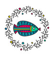 doodle fish in circle frame vector image