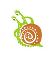 funny puzzled snail character cute green mollusk vector image vector image