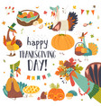 funny turkeys with thanksgiving theme on white vector image vector image