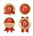 golden badge anniversary collection 25 years vector image vector image