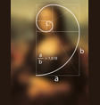 golden ratio dotted line in renaissance painting vector image