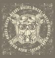 grunge style vintage skull skull bikers wearing vector image