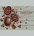 happy easter chocolate eggs card 3d vector image vector image