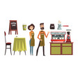 happy man and woman barista wearing plaid shirts vector image vector image