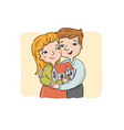 happy young couple holds the new house vector image