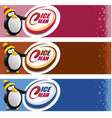 ice cream package label with pinguin cartoon vector image