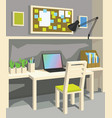 interior of workplace in cartoon style vector image vector image