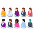 isometric beautiful young female faces vector image