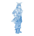 japanese samurai cartoon hero warrior clothes vector image