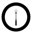 large fork black icon in circle isolated vector image