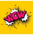 Lettering wow emotion comics book balloon vector image vector image