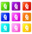 macaque on a tree icons 9 set vector image vector image