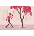 Man walks with smartphone to bump into a tree vector image vector image