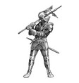 medieval armed knight historical ancient military vector image vector image