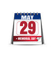 Memorial day 2017 29 may desk calendar