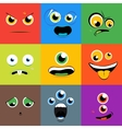 Monster faces icons set in flat style vector image vector image