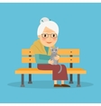 Old woman on bench vector image vector image