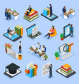online education isometric icons vector image vector image