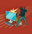 online hacker steals yen money from computer vector image